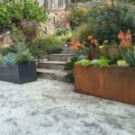 corten and aluminum metal planters