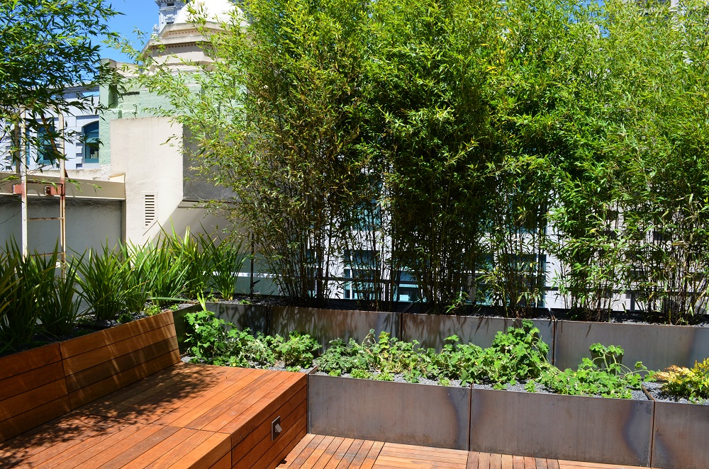 Corten Steel Planters Green Roof Terrace