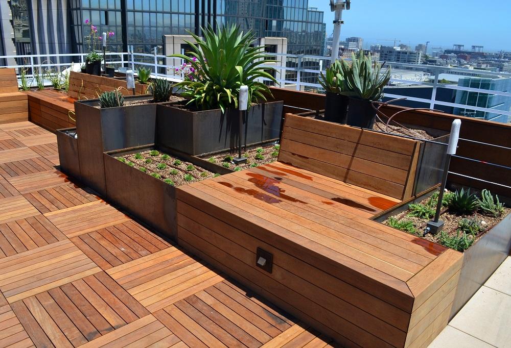 corten planters ipe benches