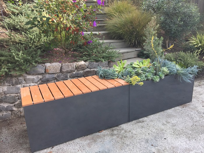 Corten Bench Planter Gray Aluminum