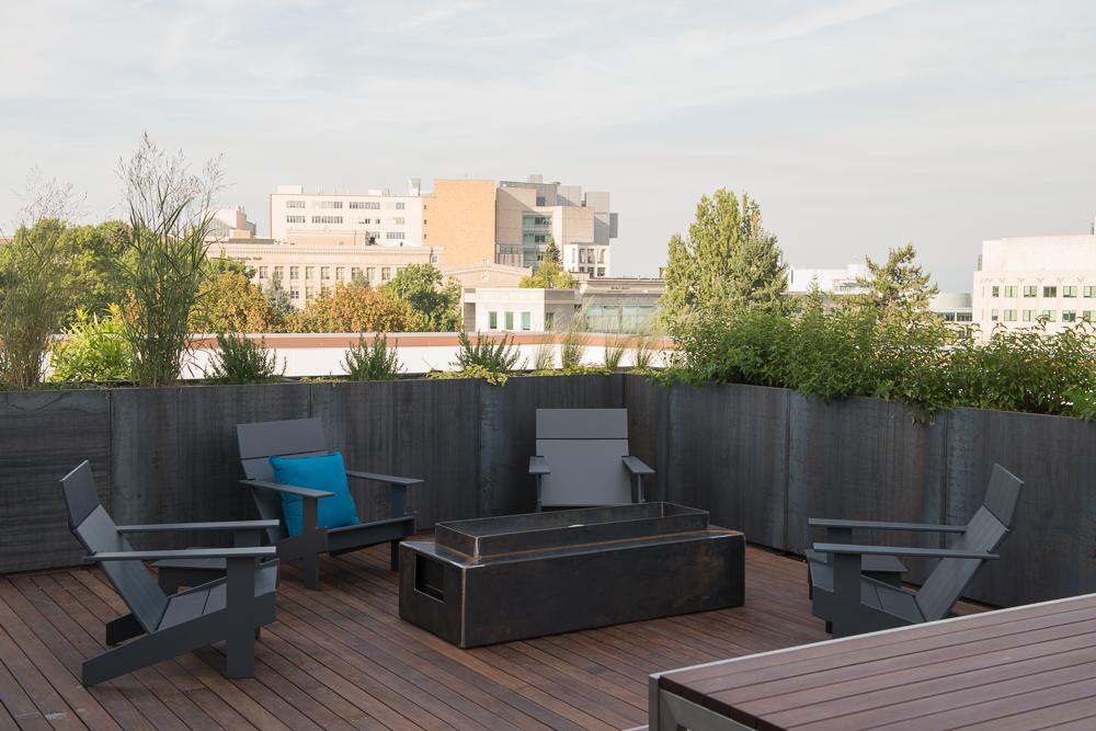 roof deck corten steel planters portland