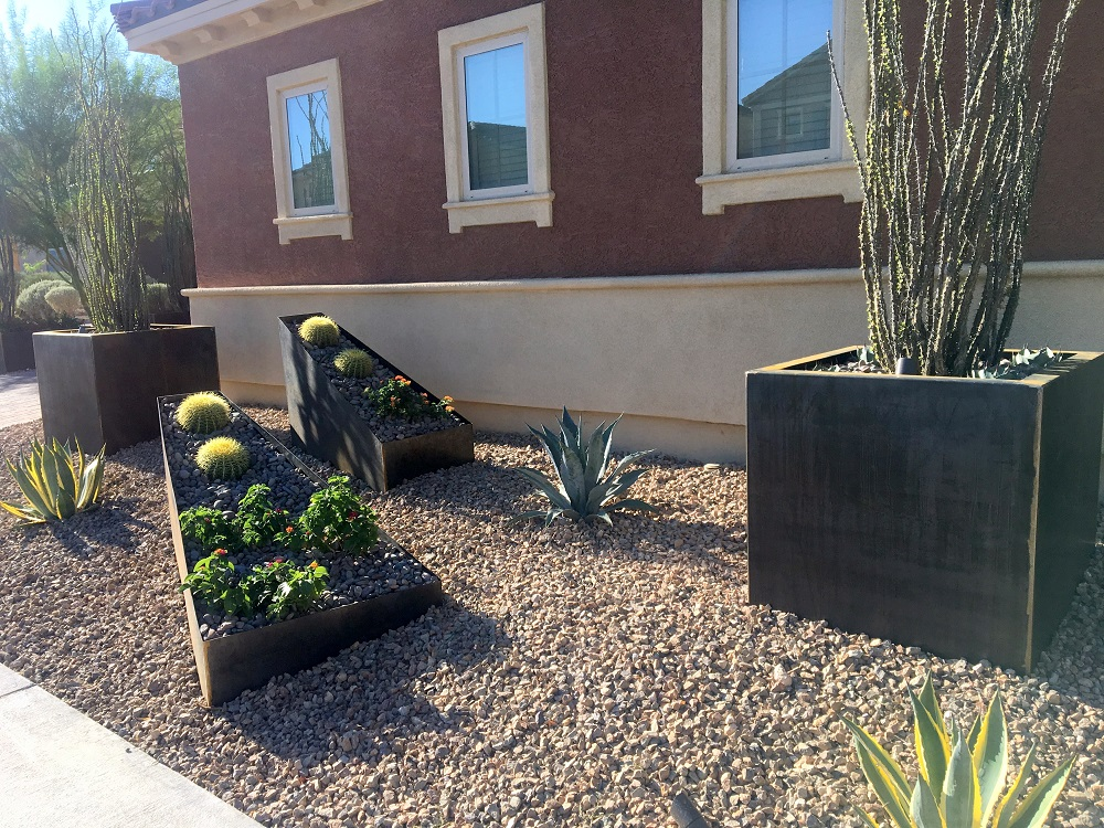 Using Cor Ten Planters To Create A Desert Garden Nice Planter Llc
